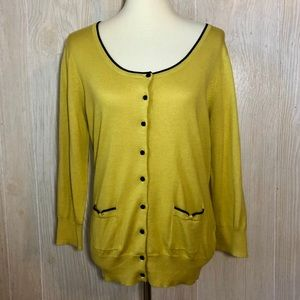 NWT H&M Black Trimmed Yellow Cardigan Size Large